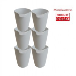 Set of 6 cups color white